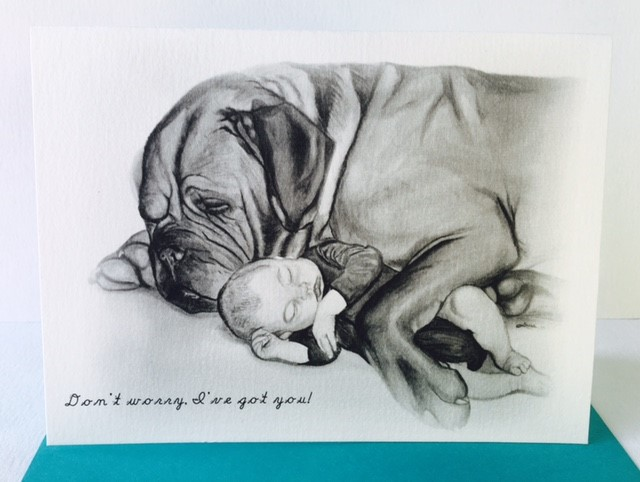 Greeting Card of Dog and Baby