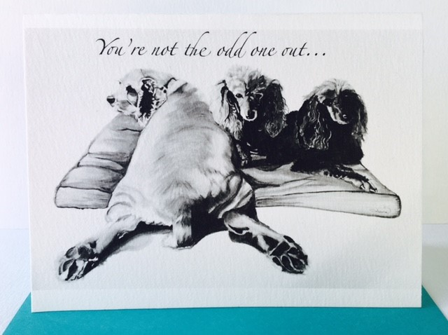 Greeting Card of 3 dogs