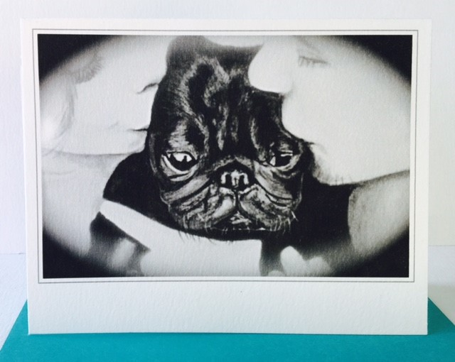 Greeting Card of Pug with owners